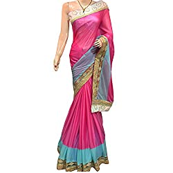 Pink Designer Lykra With Embroidered Saree.
