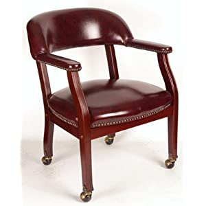 Boss B9545 Captain's Guest Arm Chair with Casters Oxblood Vinyl