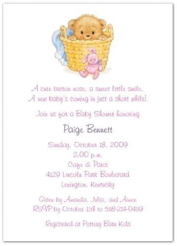 Basket Of Love Pink Baby Shower Invitations - Set Of 20 front-1014555