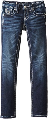 Miss Me Big Girls' Houndstooth Skinny Jean With Flat Pocket, Dark Blue, 7 front-705297