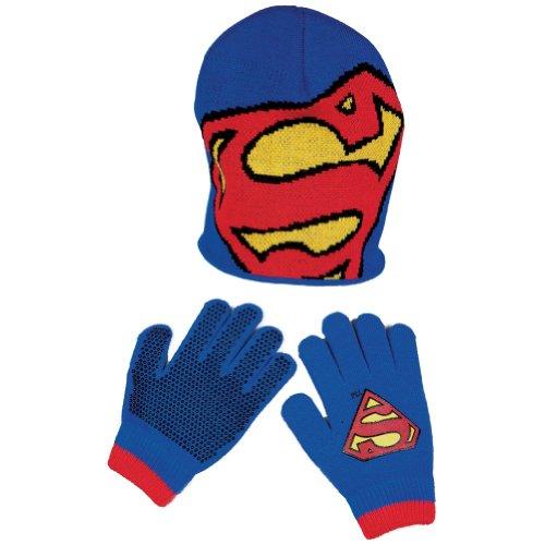 Warner Bros. Little Boys' Superman Big Logo Beanie And Glove Set, Blue, One Size front-958394