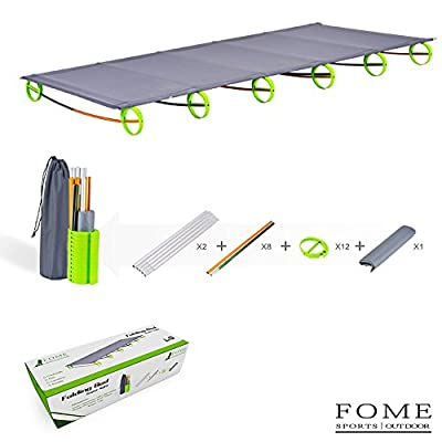 FOME SPORTS|OUTDOOR Ultralight Folding Bed Portable Aluminium Alloy Cots Camping Tent Bed