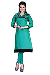 Clickedia Women's faux Georgette Green Black Kurti - Semi-stitched