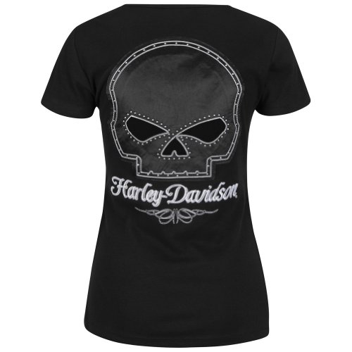 Harley-Davidson Womens Willie G Skull and Chain Passion Black T-Shirt Large