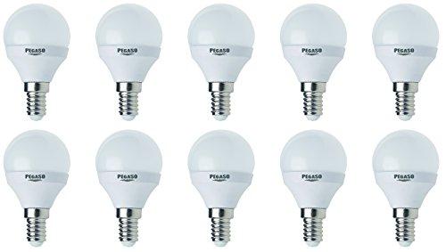 Set di 10 LAMPADINE SFERA P45 LED PEGASO, 7W, E14, Lampada LED, ø45x81, 3000K, Luce CALDA, 595 Lm, sostituisce 42W, raggio di illuminazione 200°. [Classe di efficienza energetica A+]