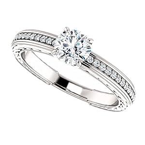 10K White Gold Round Cut Diamond Engagement Ring