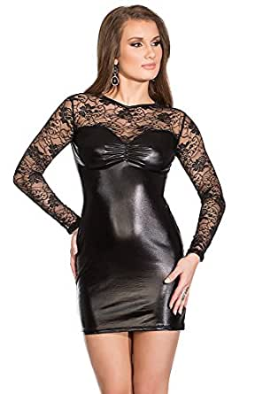 Amazon.com: Coquette Women's Darque Wet Look and Lace Dress: Clothing
