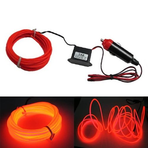 Ijdmtoy Flexible El Neon Glow Lighting Strip With Charger For Car Interiror Deco, Red Color