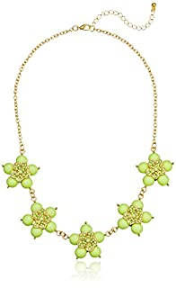 Lime Small Flower Cabochon Gold-Tone Statement Necklace, 18.5