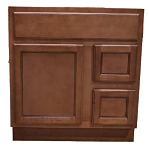 30 Inch All Wood Flat Panel Ginger Bathroom Vanity Two Drawers Cabinet Drawers On Left Or Right