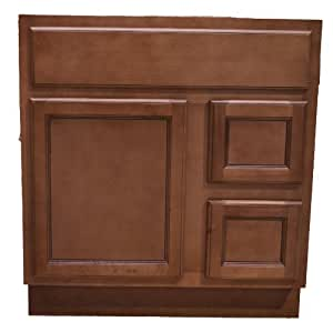 30 inch all wood flat panel ginger bathroom vanity two - Bathroom vanity with drawers on left ...