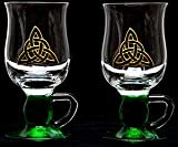 Pair of Irish Coffee Glasses in a Green Celtic Eternity Knot Design. Handpainted and designed in the UK by Beverley Gallagher, these significant and expressive gifts are ideal for St Patrick's Day, Christmas, Valentine's Day, Mother's Day, Easter, Father