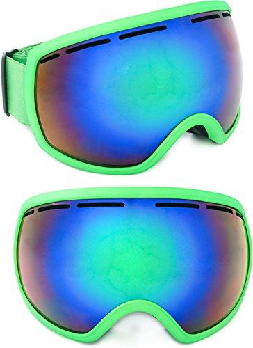 Skibrille verspiegelt Aspen 2017 unisex für Damen & Herren mit großem Sichtfeld / kratzfeste Gläser / inklusive Schutzbeutel und EVA Box / Etui / one size / Antifog / Doppelglas / inkl. Microfaserbag / Brillenträger / EVA Box / Hardcase