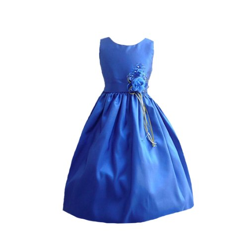 Classykidzshop Satin Special Occasion Dress - Royal Blue 2T front-911544