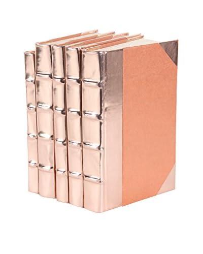 Set of 5 Metallic Patent Leather Rebound Books, Rose Gold