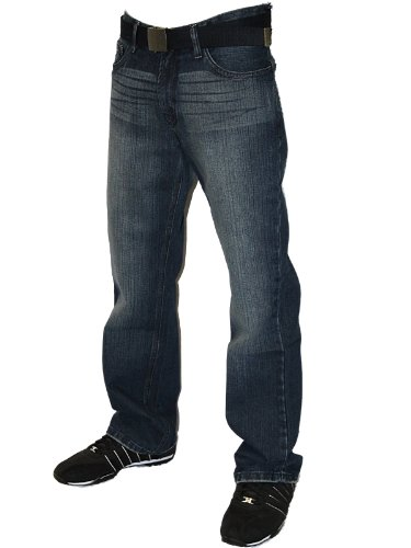 Mens Darkwash FB-M Designer Branded Zipped Fly Boot Cut Denim Jeans W28 L30