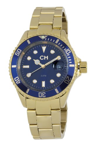 Carlo Monti Varese Men's Quartz Watch with Blue Dial Analogue Display and Gold Stainless Steel Plated Bracelet CM507-239