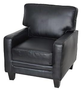 Serta CR-44106 Santa Rosa Collection Track Arm Accent Chair, Black