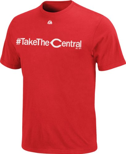 Cincinnati Reds Red Majestic #Takethecentral Twitter T-Shirt