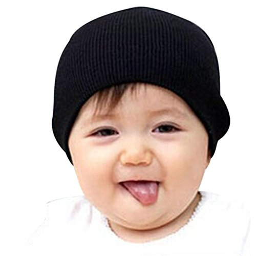 Bolayu Children Winter Warm Kids Cap Baby Beanie Boy Girls Soft Hat (Black)