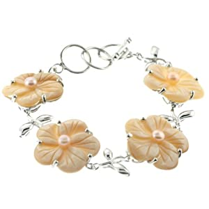 "Flower Shaped Beige Abalone Shell Bracelet w/ Faux Pearls - 7.5"" Length - Sold Individually"