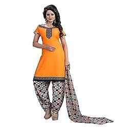 Shree Hari Creation Women's Poly Cotton Unstitched Dress Material (241_Orange_Free Size)
