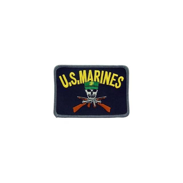 USMC Marines Corp Military Iron On Patch   Marine Skull w/ Cross Guns Applique