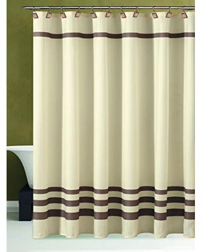 Duck River Textile Bleecker Hotel Striped Shower Curtain, Beige/Chocolate