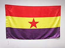 BANDERA ESPAÑA REPUBLICANA ESTRELLA ROJA 150x90cm en RASO para un palo - BANDERA DE LA REPUBLICA ESPAÑOLA 90 x 150 cm - AZ FLAG