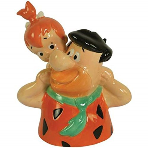 Flintstones Theme Coin Bank Container with Pebbles Piggy Back on Fred