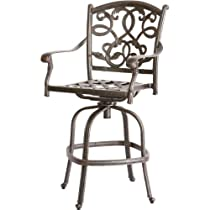 Hot Sale Heritage Outdoor Living Santa Monica Cast Aluminum Barstool - Set of 4 - Antique Bronze