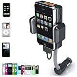 August WT605N - FM Transmitter - In Car MP3 Player and Charger with iPod connector / 3.5mm Audio In / USB Charging Port