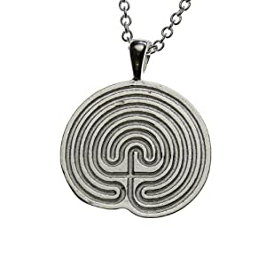 Minoan Labyrinth Silver-dipped Pendant Necklace on 18