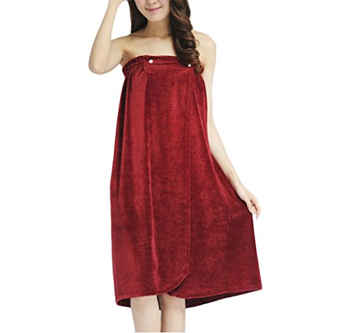 Towel Tube Dress, Pure Soft Velour Wearable Spa Shower Bath Towel Wrap Strapless Cover Up Bathing Towel Tube Dress Bathrobe for Women Ladies Red