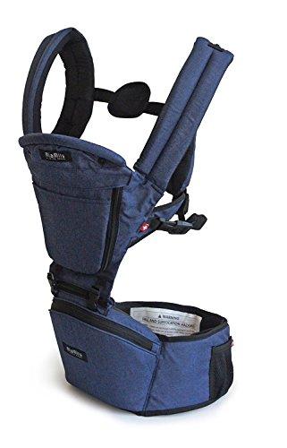 MiaMily HIPSTER PLUS Marsupio Porta Bebè, Perfetta Alternativa allo Zaino da Escursionismo con 9 Posizioni di Trasporto e Design Ergonomico con Protezione per le Anche del Bambino o del Neonato (Denim Blu)