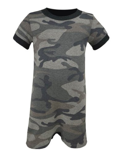 Kavio! Unisex Infants Heather Camouflage Short Sleeve Romper Camo Gray 24M