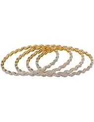 Ridhii Creations Golden American Diamonds Alloy Bangle Set Of 4 For Women 2-v