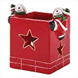 ABC Products - {Seasonal Close-Out} ~ Santa Chimney - Votive Candle Holder - With 2 Snowman Hanging On The Sides...
