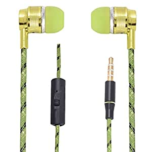 Hello Zone Premium Quality Comfort Fit Earphone Handsfree Headphone (with Glow Thread-Embedded) with Mic 3.5 MM Jack for Micromax Bolt AD4500 -Light Green