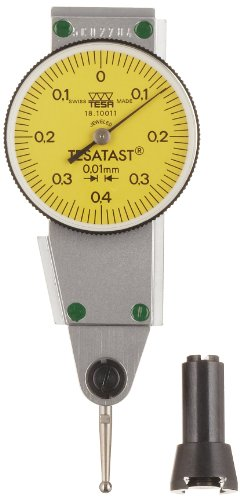 Brown & Sharpe Tesa 18.10011 Tesatast Dial Test Indicator, Side Mounted, M1.4X0.3 Thread, 2Mm Stem Dia., Yellow Dial, 0-0.4-0 Reading, 28Mm Dial Dia., 0-0.8Mm Range, 0.01Mm Graduation, +/-0.01Mm Accuracy back-260331