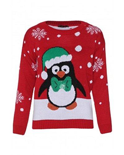 Momofashions - Christmas Xmas 3D Knitted Santa Deer Elf Olaf Snowman Led Rudolf Tree Reindeer Jumpers (Usa 8/10 (Uk 12/14, Led Penguin Christmas -Red)