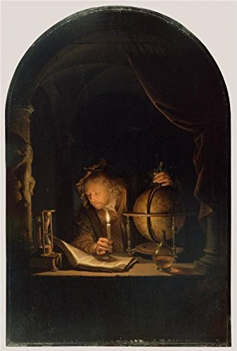 Oil Painting 'Astronomer By Candlelight, Late 1650s Gerrit Dou' 8 x 12 inch / 20 x 30 cm , on High Definition HD canvas prints is for Gifts And Basement, Bath Room And Kids Room Decoration