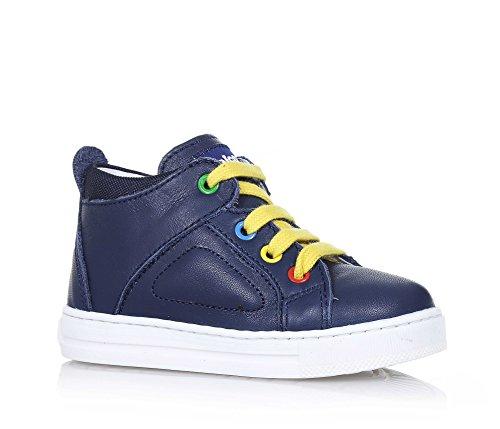 FALCOTTO - Sneaker stringata blu in pelle, lacci gialli, occhielli colorati, logo posteriore e sulla linguetta, cuciture a vista e suola in gomma, Bambino, Ragazzo-25