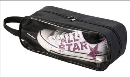 Meta-U Camping Travel Accessory Transparent Visible Breathable Tote Bag Portable Waterproof Shoe Storage Box (black)