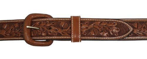Vogt Silversmiths Western Leather Belt - Hand Tooled Acorn and Oak Leaf Detail 1.5 inches Wide, Russet, Size 40 (Hand Tooled Belt compare prices)
