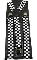 Black White Checker Suspenders Gothic Emo Punk Rocker Unisex