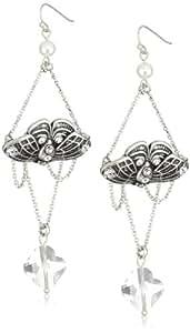"Jessica Simpson ""Botanica Silver"" Moth Chandelier Earrings"