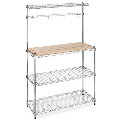 Evaluate Bakers Rack with Cutting Board and Storage Chrome Shelves Kitchen Work Station Shelf Organizer K60 By  BestOffice