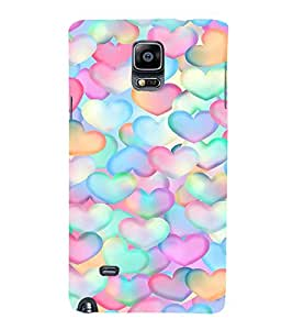 EPICCASE Colorful Hearts Mobile Back Case Cover For Samsung Galaxy Note 4 EDGE (Designer Case)