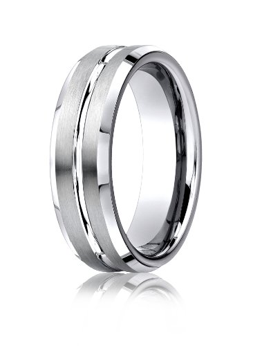 Cobalt Chrome, 7mm Comfort-Fit Satin-Finished Beveled Edge Design Ring (sz 6.5)